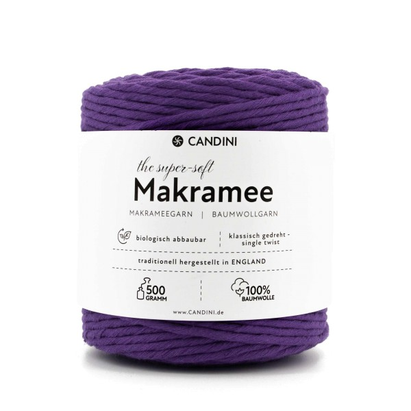Basic Makramee Garn, lila, 3,5 - 4mm, 0,5kg - ca.100m, super soft Baumwolle