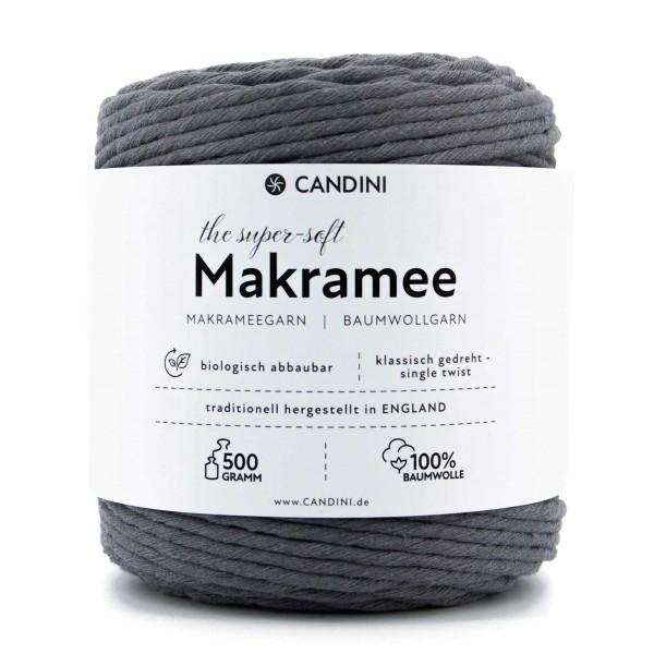 Basic Makramee Garn, grau anthrazit, 3,5 - 4mm, 0,5kg - ca.100m, super soft Baumwolle