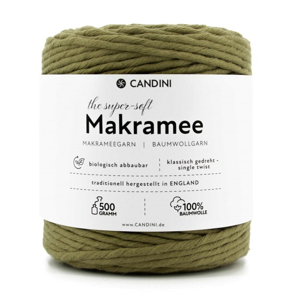 Basic Makramee Garn, oliv-grün, 3,5 - 4mm, 0,5kg - ca.100m, super soft Baumwolle