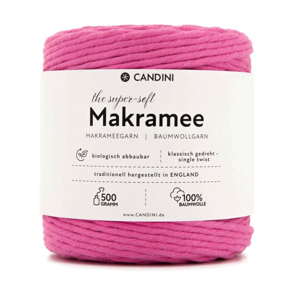 Basic Makramee Garn, pink, 3,5 - 4mm, 0,5kg - ca.100m, super soft Baumwolle