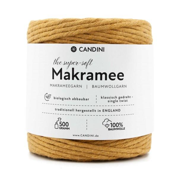Basic Makramee Garn, senf-gelb, 3,5 - 4mm, 0,5kg - ca.100m, super soft Baumwolle