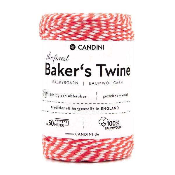 Bäckergarn rot-weiß (erdbeere) - Bastelgarn Baumwolle, 50m - Bastelschnur
