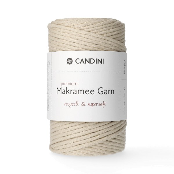 Premium Makramee Garn, 4mm, gezwirnt - mandel