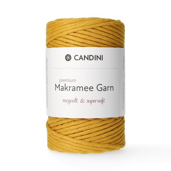 Premium Makramee Garn, 4mm, gezwirnt - senfgelb