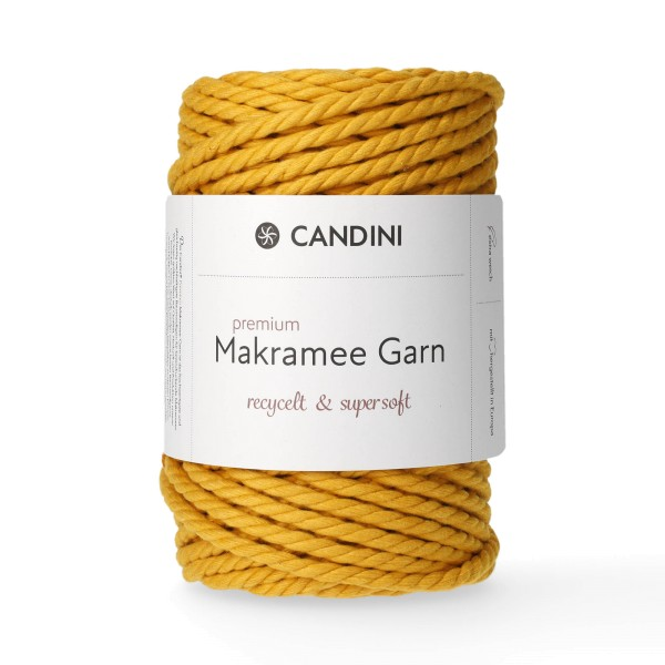 Premium Makramee Garn, 6mm, gekordelt - senfgelb